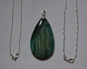 Green Onyx Teardrop Agate Pendant