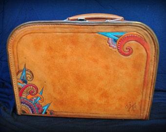 Bag carrying case, natural vegetal leather, vintage spirit