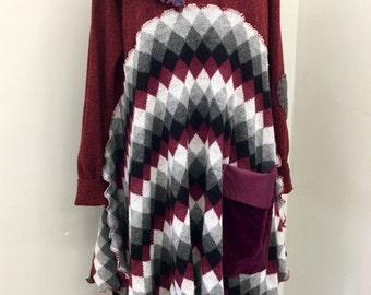 Upcycled Sweater Dress Boho Clothing Gypsy Clothing Upcyled Recycled Repurposed Lagenlook Clothing Upcycled Top Tunic Upcycle Dresses