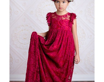 Wine Lace-Overlay Flutter Sleeve Gown