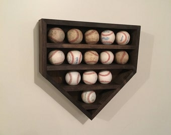 Baseball Display Shelf, Baseball Shelf, Home Plate Baseball Shelf, Home Plate Shadow Box, Baseball Shadow Box