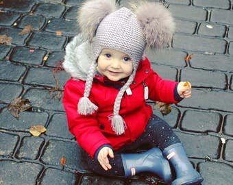 Grey Fur Wool Baby Kids Girls Boys Photography winter cute hat cap