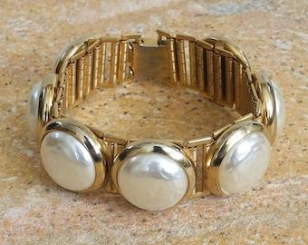 Vintage Gold and Pearl Link Bracelet - Vintage Baroque Pearl Bracelet - Large Pearl and Gold - Large Baroque Pearl - Roca Fine and Dandy