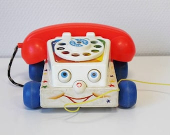 Fisher Price chatter telephone, fisher price vintage phone, vintage toy for kid, vintage fisher price, baby shower gift