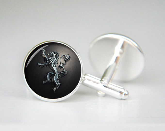 House Lannister cufflinks game of thrones personalized custom cufflinks, cool gifts for men, wedding silver cuff link, groom cufflinks