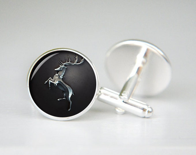 House Baratheon cufflinks game of thrones personalized custom cufflinks, cool gifts for men, wedding silver cuff link, groom cufflinks
