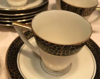 Bavaria German Art Deco Coffee Set. ME Barvarin. Chocolate Moose Cups Art Deco Coffee set