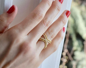X Ring - Double X Ring - Criss Cross Ring - Double Criss Cross Ring - Gold X Ring - Gold Ring - Anniversary Ring - Ring - Mother's Day Gift