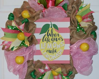 "Ready to Ship! 22"" Pink, Green, and Yellow ""When Life Gives Lemons, Make Lemonade"" Burlap and Deco Mesh Wreath! Summer-All Year"