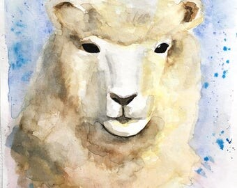 Sheep Original Watercolor Painting, 6 x 9, Romney Sheep, Wool Animal, Farm Animal, Yarn Lover Gift, Original Artwork