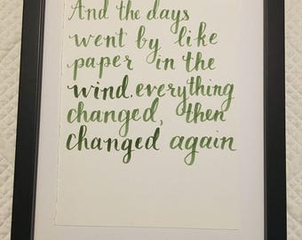 Tom Petty lyric handwritten calligraphy quote