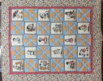 Blue/Brown Little Boy and Girl Baby Quilt