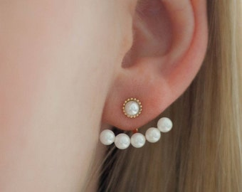 Ear jackets yellow gold beads