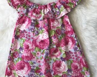 Daphne Dress - Off The Shoulder Dress, Party Dress, Flowers, Bright