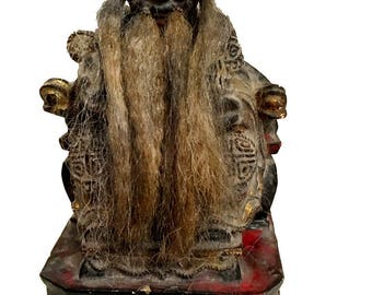 Vintage Chinese Mid Century House God w/ Horse Hair