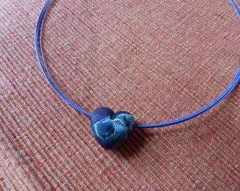 Collier, Necklace, Fashion Jewellery, with glass bead heart in lilac, 41cm