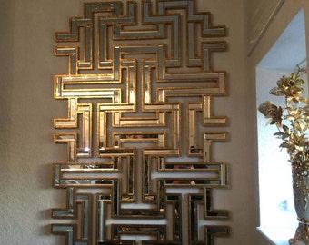 Large Modern Maze Gold Wall Mirror (80 X 120cm)