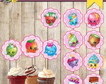12 Shopkins Cupcake Toppers-Printable Shopkins Cupcake Toppers-Digital Cupcake Toppers-Shopkins Party Decor-Shopkins Party Decoration