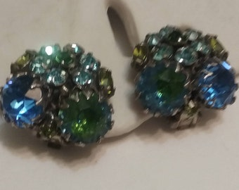Rhinestone cluster clip earrings