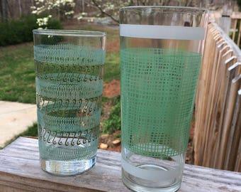 Vintage Retro Tumbler Glasses. Glass Drinking Glasses. Mid Century. Set of 2. Blue, White, & Green.