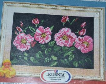 "KURNIA Cross Stitch Kit ''Pink Flowers"" 20ins x 27.5ins Black 14 Count Cotton"