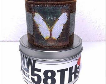 Two-Toned LOVE Butterfly Vegan Leather Cuff Bracelet