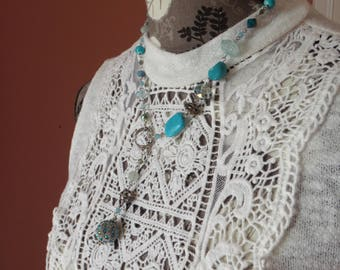 Blue Beads Silver Tone Y Necklace Lariat