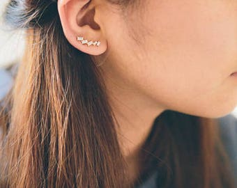 Stone Fall Ear Pin Earrings (3 colors)