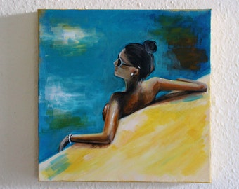 Acrylic Painting on Canvas - Woman Poolside, Contemporary Art, Swimming Pool, Summer Painting