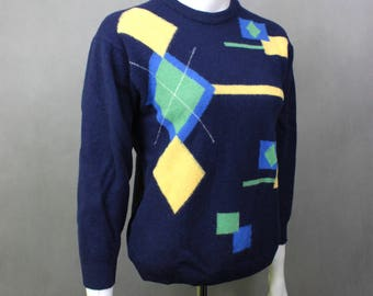 Vintage Oversized Colorful Sweater - 80s Vintage Jumper - Geometric Sweater - Hipster Colorful Sweater - Vintage Clothing Warm Cosy Sweater
