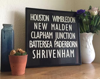 Personalised Subway Sign, Custom Subway Sign, Custom Sign, Unframed Subway Sign, Personalised Gift, Custom Present, Destination Sign