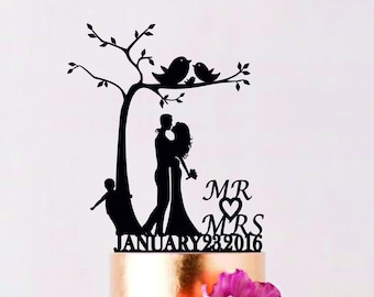 Under the Tree Wedding Cake Topper with child, Family Cake Topper, Custom Wedding Topper, Bride and Groom with little boy, Couple with child