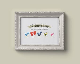 A4 Personalised Family Glove Print, Glove Family, Housewarming Gift, Birthday Present, Home Print, Welly Print, Welly Boot Print