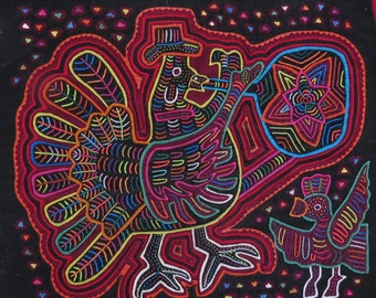 Kuna Mola Print - Mola Print Rooster - Original Mola