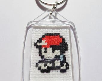 Pokemon Ash 8 Bit Handmade Cross Stitch Pixel Art Keyring