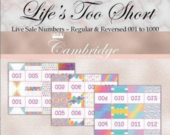 Live Sale Numbers - 001 to 1000 - Regular and Reversed INSTANT DOWNLOAD