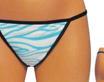 Zebra Stripes (Blue) Thong/G-String