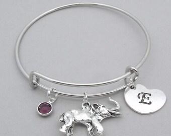 Elephant charm heart initial bracelet | love elephants bangle | personalised elephant bracelet | elephant jewelry | birthstone