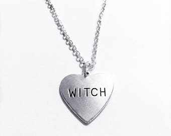 Witch Necklace | Witch Heart Pendant | Occult Jewelry | Wiccan Jewelry | Gothic Necklace | Goth Jewelry | Halloween Jewelry
