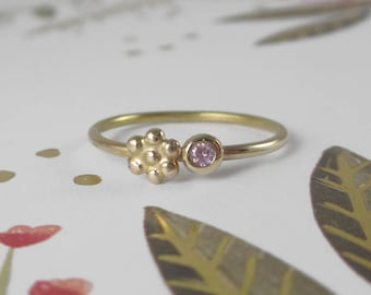 14k Gold Pink Sapphire and Daisy Flower Stacking Ring * Meadow Ring * Sterling Silver Band * Wildflower Springtime Little Girl
