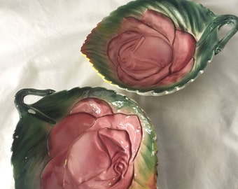 Vintage Rose Majolica-Like Pottery Dishes - Pair