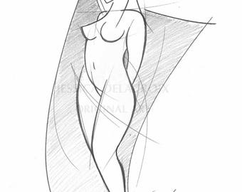 wall art, pencil drawing, nude,  black and white drawing, nude drawing, woman, art deco, nude sketch, sketch, nude study, Nude sketch 1