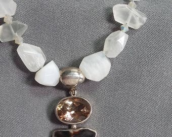Citrine and Peanutwood Pendant on Moonstone Necklace