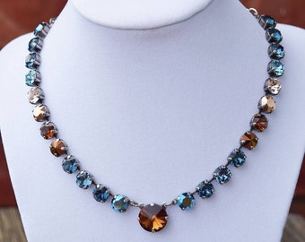 8mm with 14mm accent Swarovski Crystal Necklace - Blues & Browns