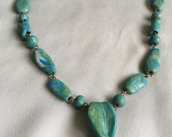 Blue/Green Pebble Link Necklace with Twist Pendant