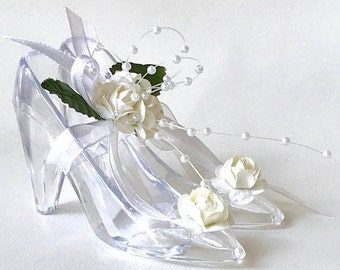 12 Handmade (Hand-finished) Clear Shoe Party Favors For Weddings, Bridal Showers, Birthdays, Party Decors, or Special Occasions, Pack of 12