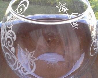 Hand engraved vase.