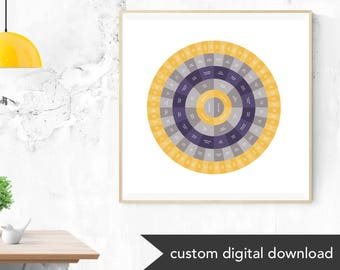 Custom Genealogy Family Tree Chart (Gray Accented with Bright Colors, either Circle Genealogy Chart or Fan Chart)