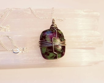 Ruby Zoisite Necklace Wire Wrapped Ruby Zoisite Necklace Ruby Zoisite Gemstone Ruby Zoisite Crystal