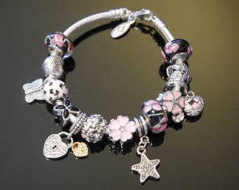 "Authentic 7.5"" Pandora Lobster Clasp Bracelet with 3 Authentic Pandora Charms"